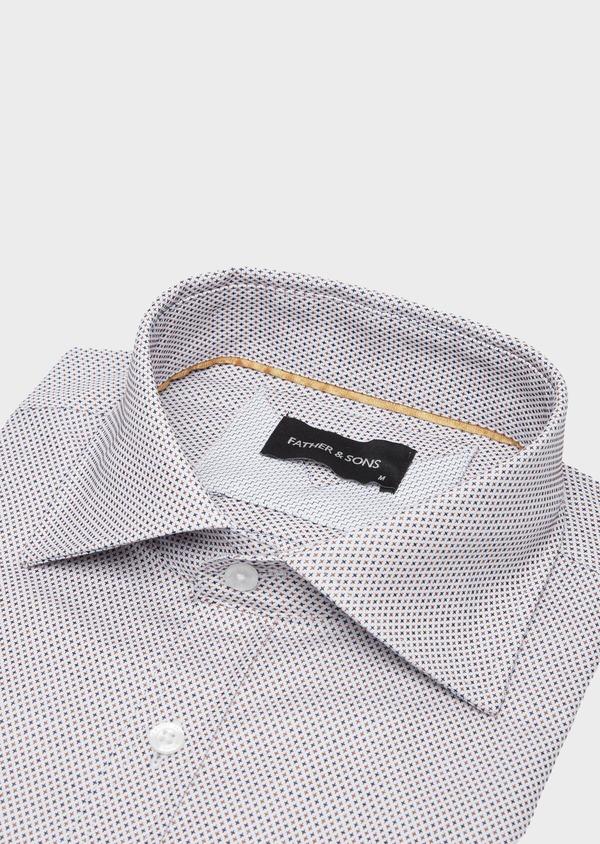 Chemise habillée Slim en coton Jacquard écru à micro motifs - Father and Sons 40817