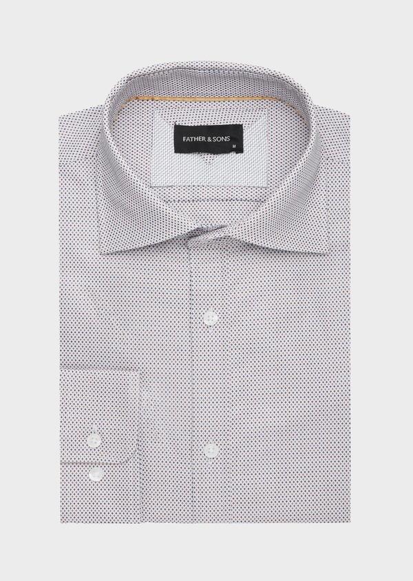 Chemise habillée Slim en coton Jacquard écru à micro motifs - Father and Sons 40815