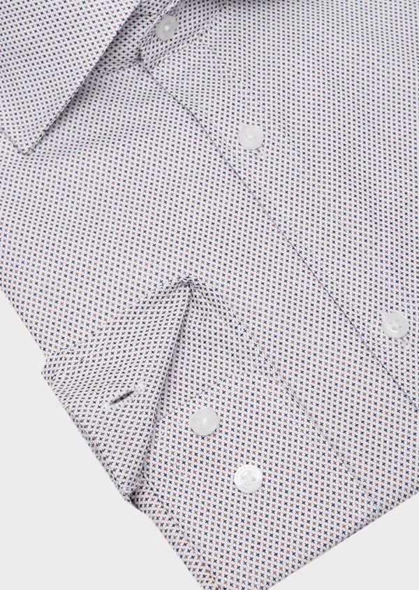 Chemise habillée Slim en coton Jacquard écru à micro motifs - Father and Sons 40818