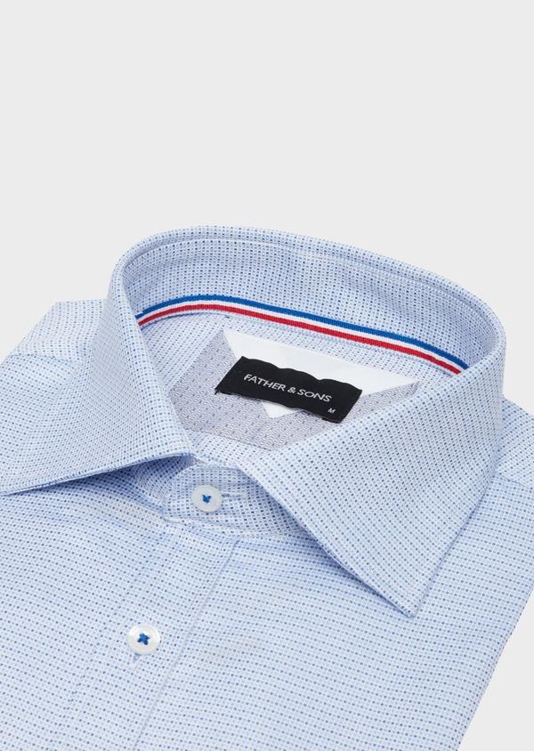 Chemise habillée Slim en coton Jacquard blanc à motif fantaisie bleu - Father and Sons 40801
