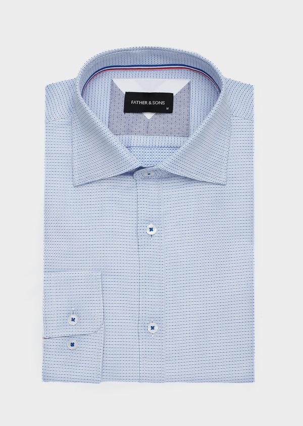 Chemise habillée Slim en coton Jacquard blanc à motif fantaisie bleu - Father and Sons 40799