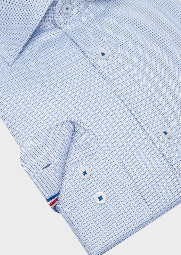 Chemise habillée Slim en coton Jacquard blanc à motif fantaisie bleu - Father and Sons 40802