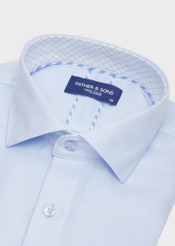 Chemise habillée non-iron Regular en coton façonné bleu ciel à motifs géométriques - Father and Sons 40873