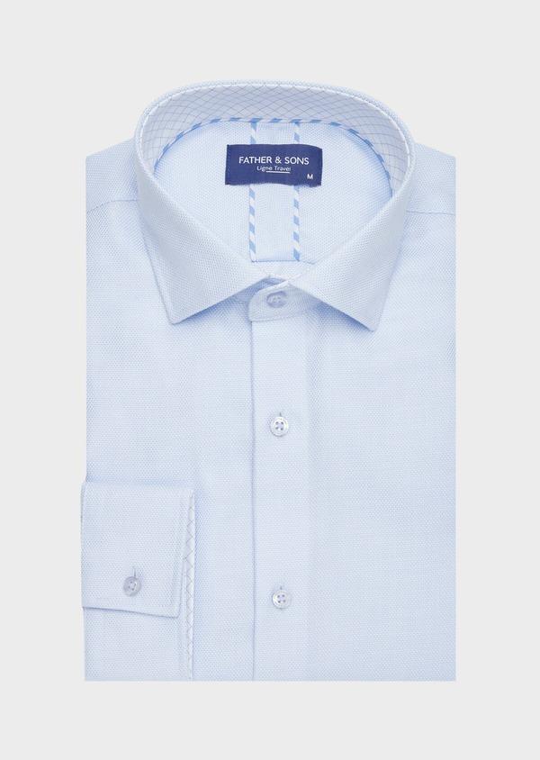 Chemise habillée non-iron Regular en coton façonné bleu ciel à motifs géométriques - Father and Sons 40871