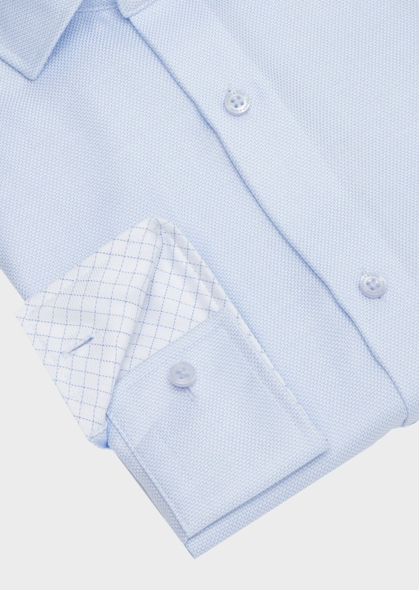 Chemise habillée non-iron Regular en coton façonné bleu ciel à motifs géométriques - Father and Sons 40874