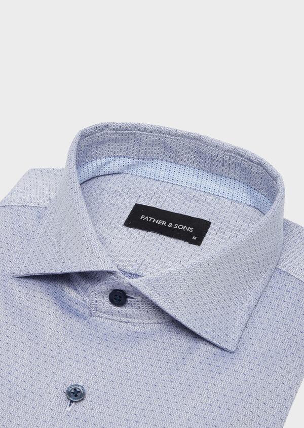 Chemise habillée Slim en coton façonné bleu à motif fantaisie - Father and Sons 40805