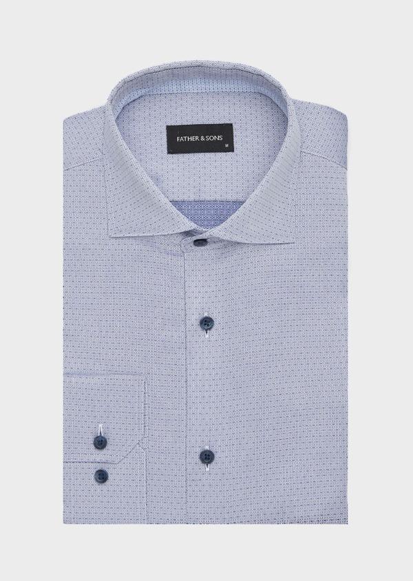 Chemise habillée Slim en coton façonné bleu à motif fantaisie - Father and Sons 40803