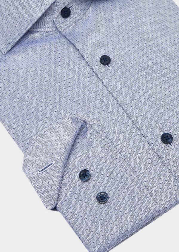 Chemise habillée Slim en coton façonné bleu à motif fantaisie - Father and Sons 40806