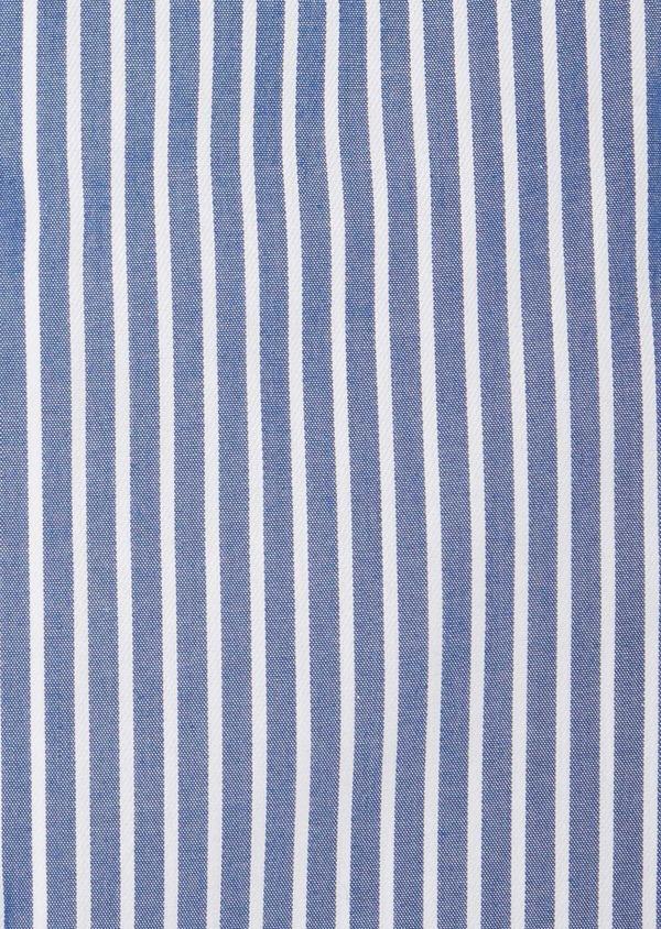 Chemise habillée non-iron Regular en popeline de coton bleu indigo à rayures blanches - Father and Sons 40884