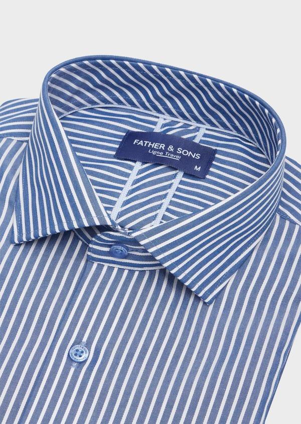 Chemise habillée non-iron Regular en popeline de coton bleu indigo à rayures blanches - Father and Sons 40885