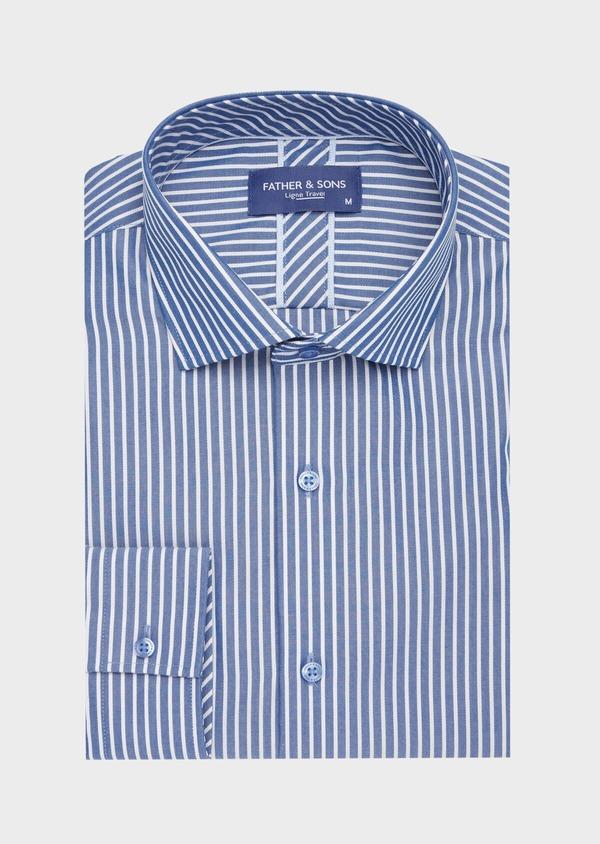 Chemise habillée non-iron Regular en popeline de coton bleu indigo à rayures blanches - Father and Sons 40883
