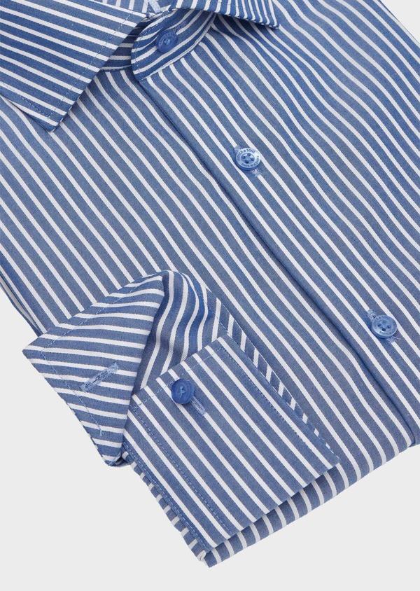 Chemise habillée non-iron Regular en popeline de coton bleu indigo à rayures blanches - Father and Sons 40886