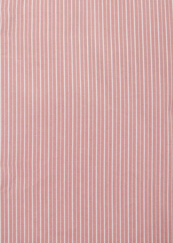 Chemise habillée Slim en popeline de coton rose à rayures blanches - Father and Sons 40808