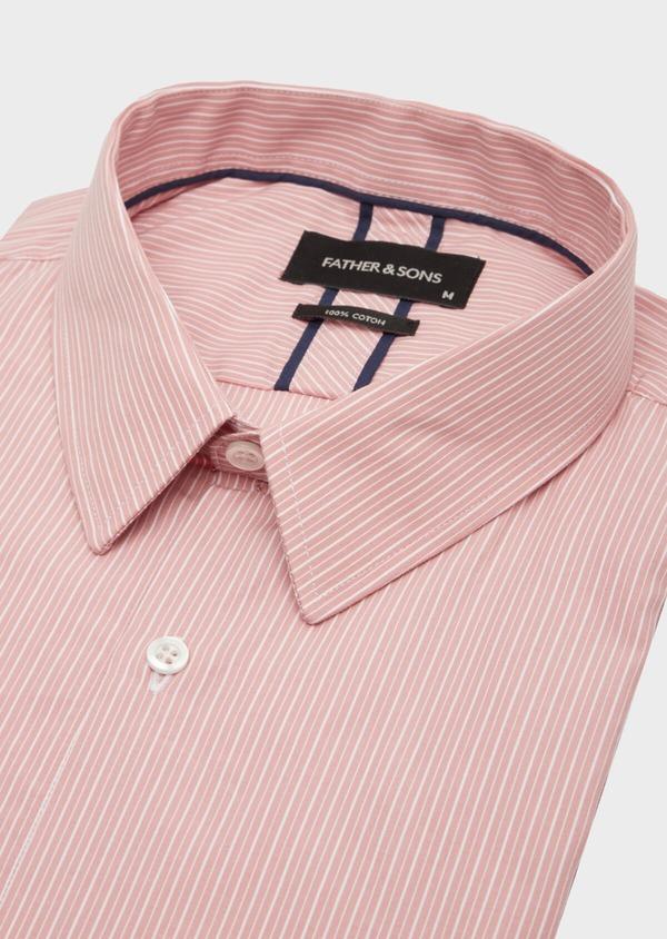 Chemise habillée Slim en popeline de coton rose à rayures blanches - Father and Sons 40809