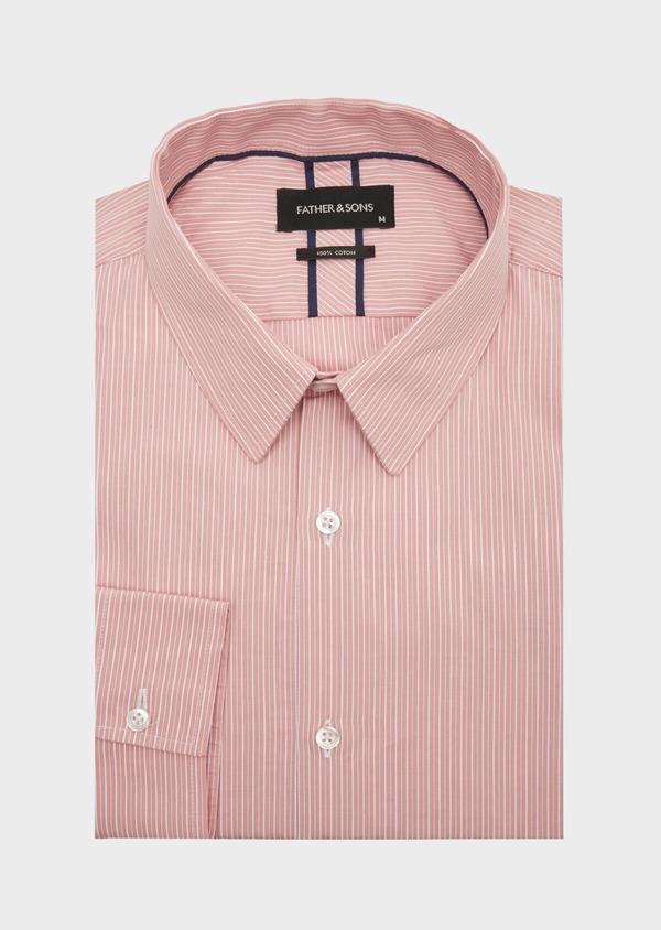 Chemise habillée Slim en popeline de coton rose à rayures blanches - Father and Sons 40807