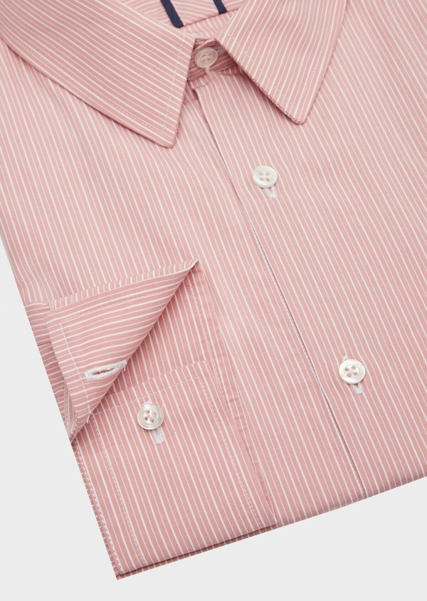 Chemise habillée Slim en popeline de coton rose à rayures blanches - Father and Sons 40810