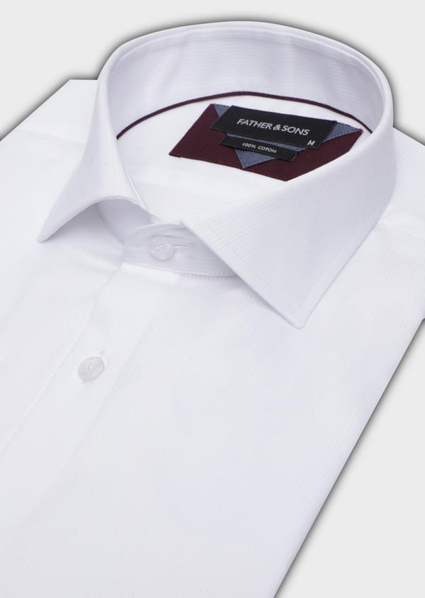 Chemise habillée Slim en coton façonné blanc à motif fantaisie ton sur ton - Father and Sons 34942