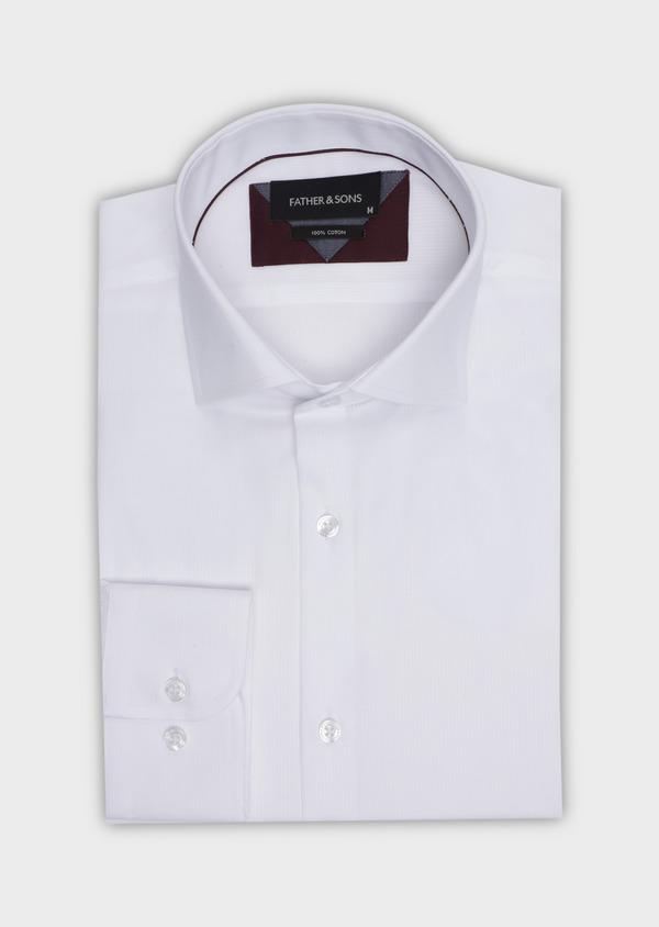 Chemise habillée Slim en coton façonné blanc à motif fantaisie ton sur ton - Father and Sons 34940