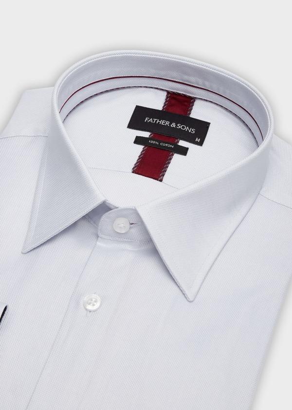 Chemise habillée Regular en coton façonné à motif fantaisie ton sur ton blanc - Father and Sons 38401