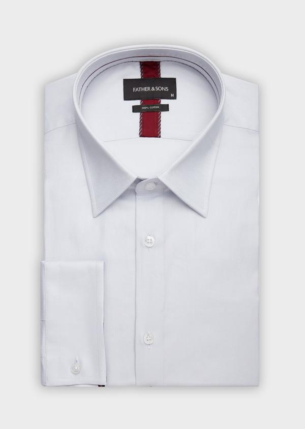Chemise habillée Regular en coton façonné à motif fantaisie ton sur ton blanc - Father and Sons 38399