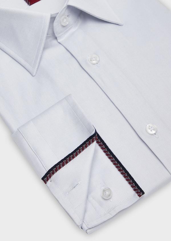 Chemise habillée Regular en coton façonné à motif fantaisie ton sur ton blanc - Father and Sons 38402