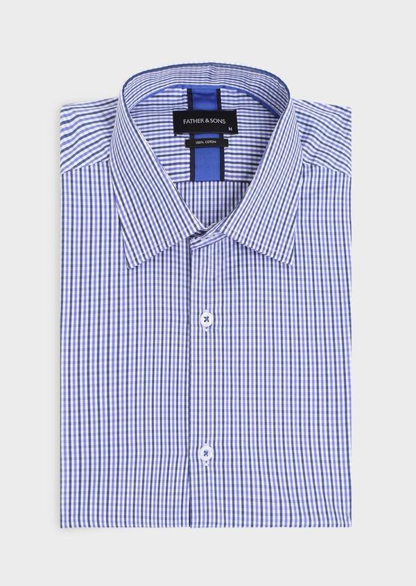 Chemise habillée Regular en popeline de coton à carreaux bleus et blancs - Father and Sons 34896