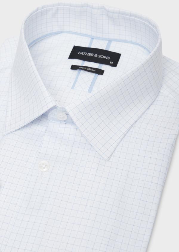 Chemise habillée Regular en coton façonné bleu ciel à motifs géométriques blancs - Father and Sons 36686