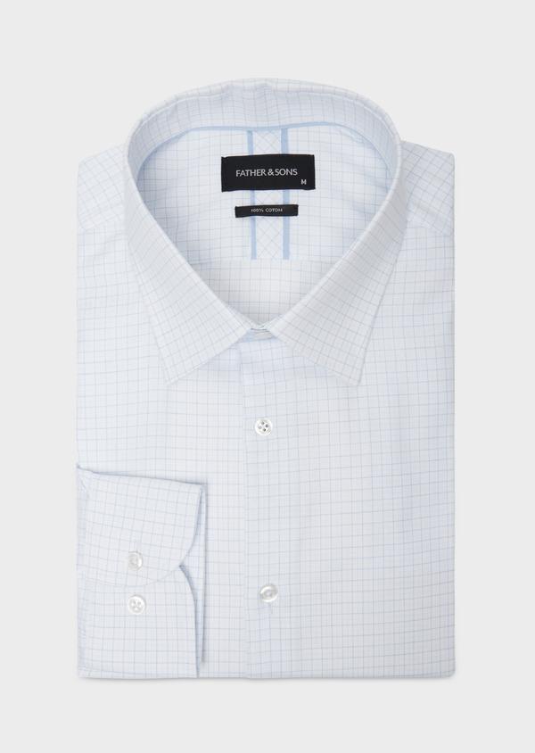 Chemise habillée Regular en coton façonné bleu ciel à motifs géométriques blancs - Father and Sons 36684