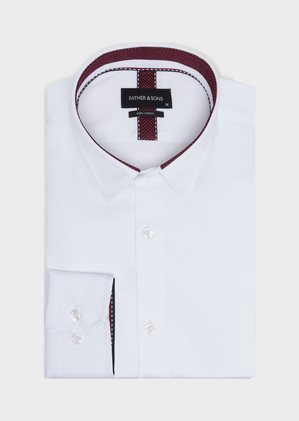 Chemise habillée Regular en satin de coton uni blanc - Father and Sons 34936