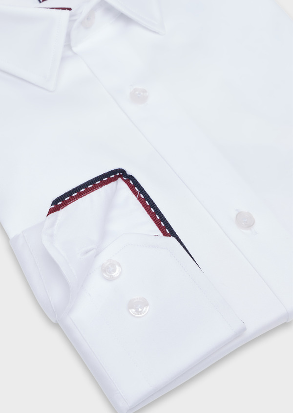 Chemise habillée Regular en satin de coton uni blanc - Father and Sons 34939