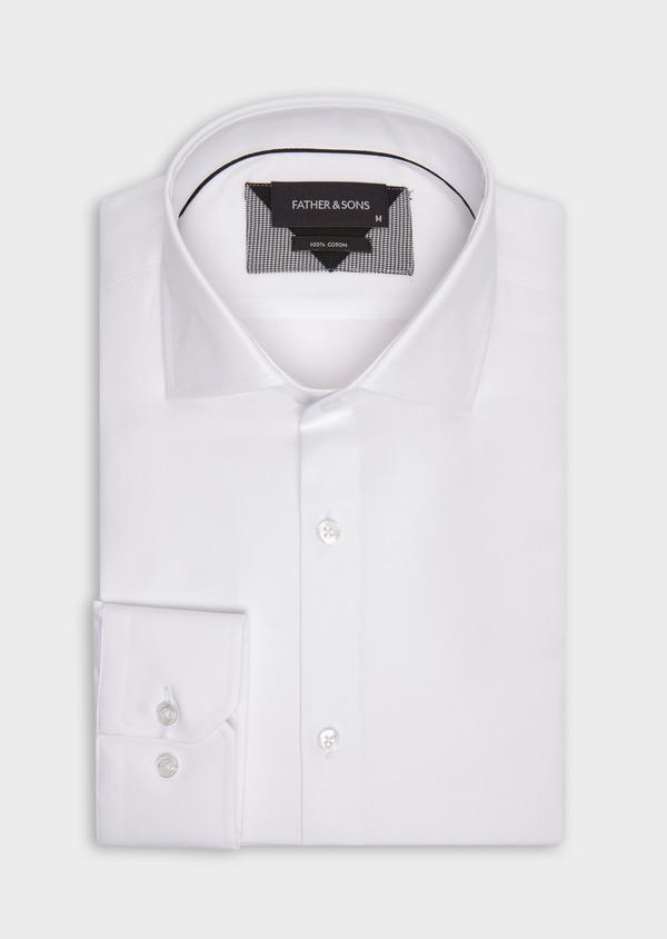 Chemise habillée Regular en coton façonné uni blanc - Father and Sons 36657