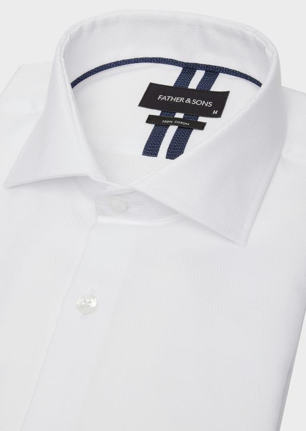 Chemise habillée Regular en coton façonné uni blanc - Father and Sons 38357