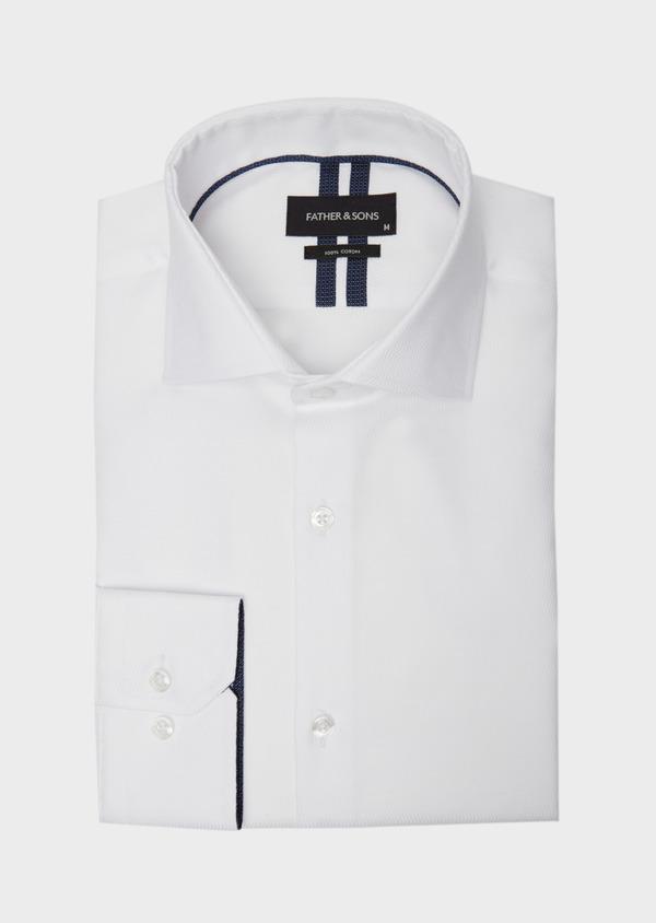 Chemise habillée Regular en coton façonné uni blanc - Father and Sons 38355