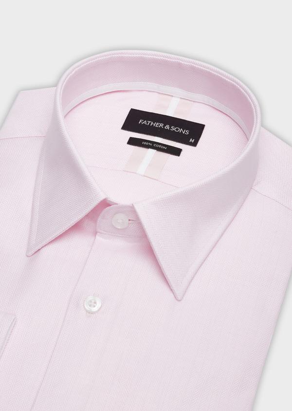 Chemise habillée Regular en chevron de coton uni rose pâle - Father and Sons 38341