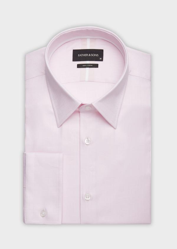 Chemise habillée Regular en chevron de coton uni rose pâle - Father and Sons 38339