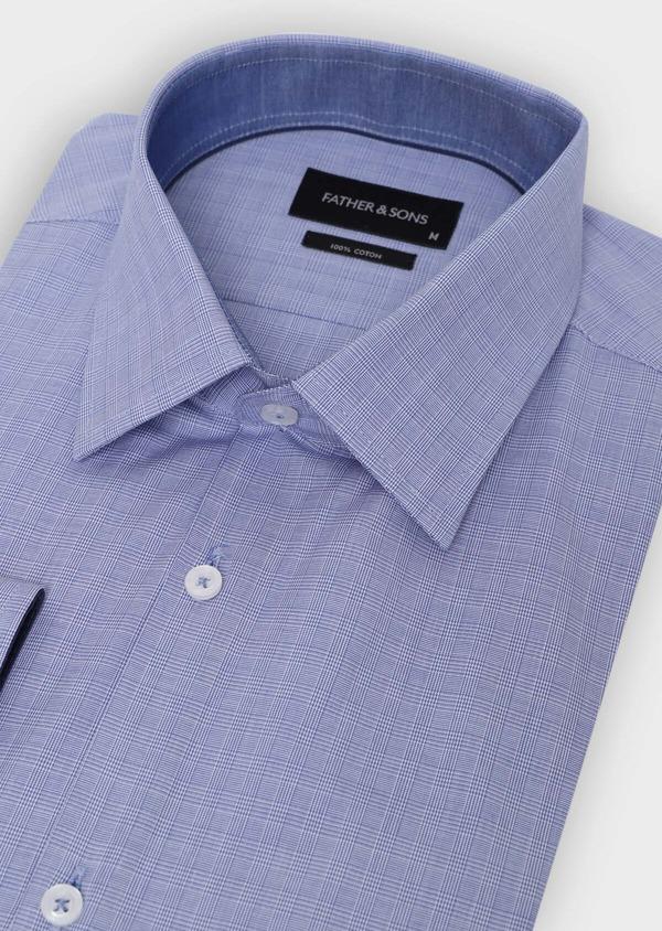 Chemise habillée Slim en popeline de coton à carreaux bleus et blancs - Father and Sons 34962
