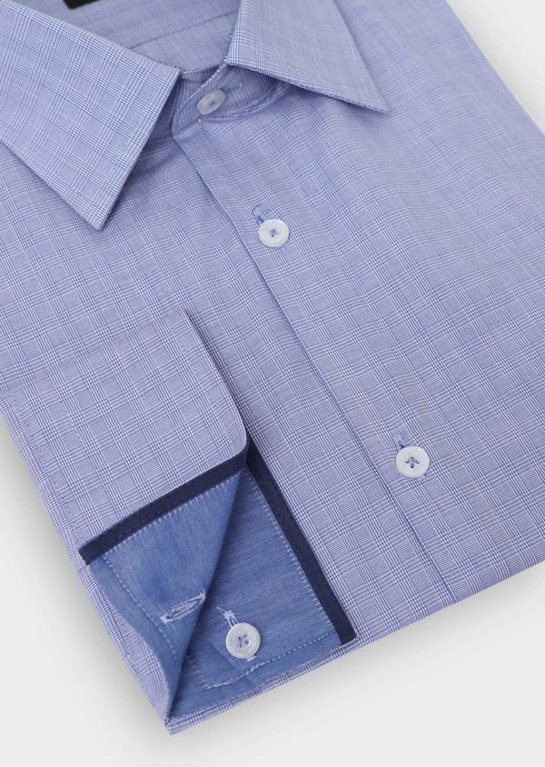 Chemise habillée Slim en popeline de coton à carreaux bleus et blancs - Father and Sons 34963