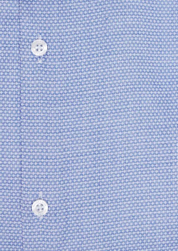 Chemise habillée Slim en popeline de coton bleu à motif fantaisie blanc - Father and Sons 34969