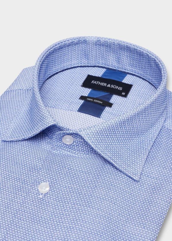 Chemise habillée Slim en popeline de coton bleu à motif fantaisie blanc - Father and Sons 34970
