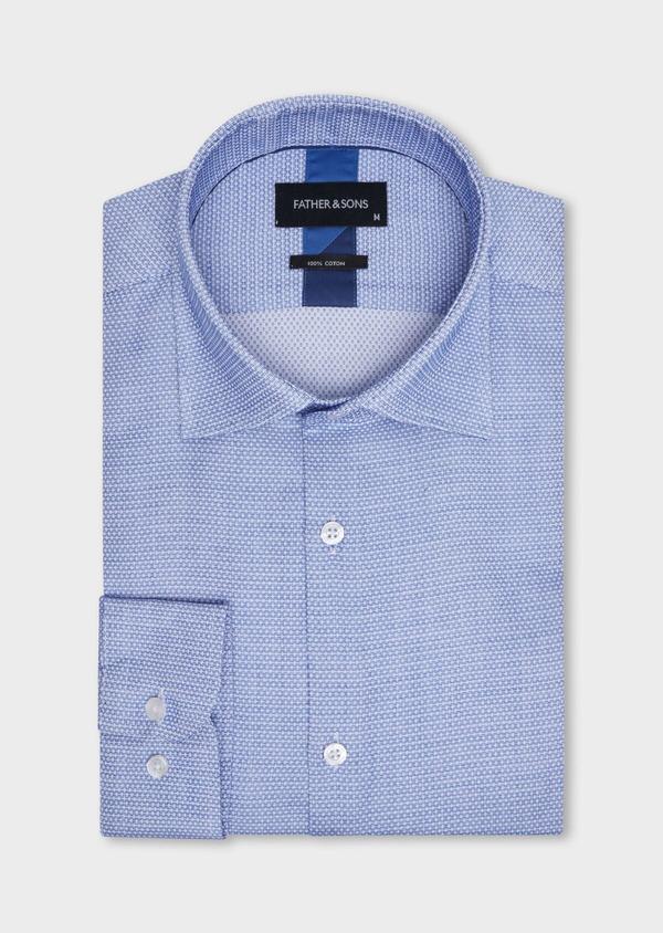 Chemise habillée Slim en popeline de coton bleu à motif fantaisie blanc - Father and Sons 34968