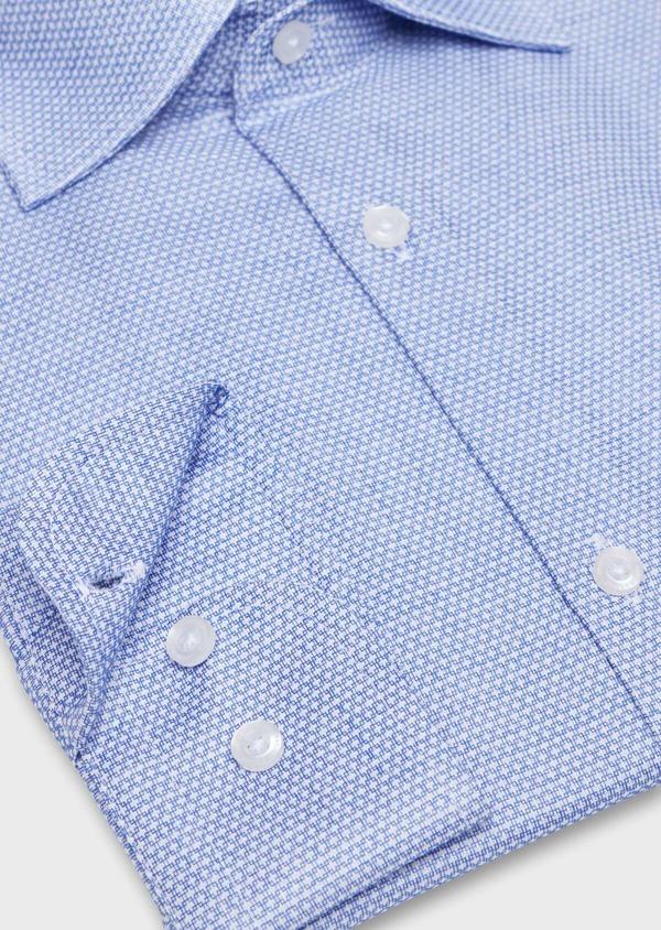 Chemise habillée Slim en popeline de coton bleu à motif fantaisie blanc - Father and Sons 34971