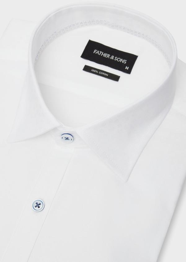Chemise habillée Slim en coton façonné blanc à motif fantaisie - Father and Sons 38562