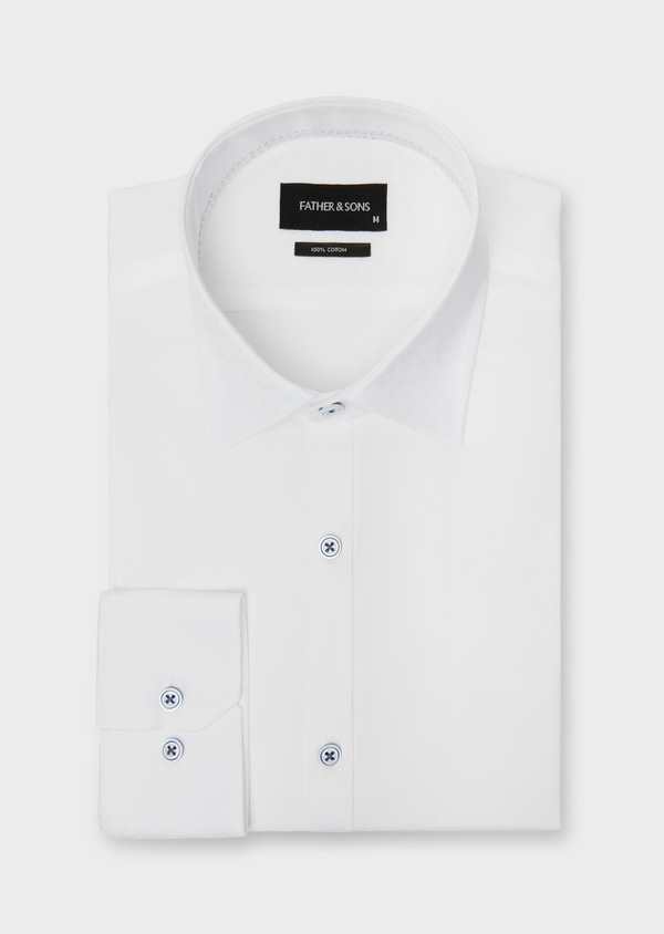 Chemise habillée Slim en coton façonné blanc à motif fantaisie - Father and Sons 38560