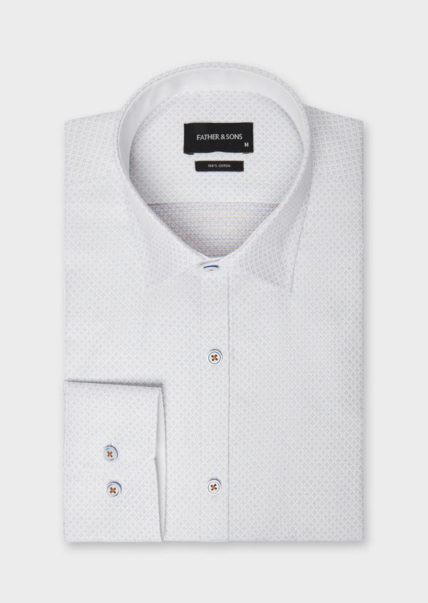 Chemise habillée Slim en twill de coton blanc à motif fantaisie - Father and Sons 38299
