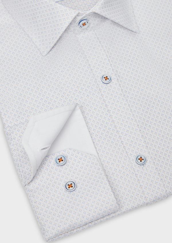 Chemise habillée Slim en twill de coton blanc à motif fantaisie - Father and Sons 38302
