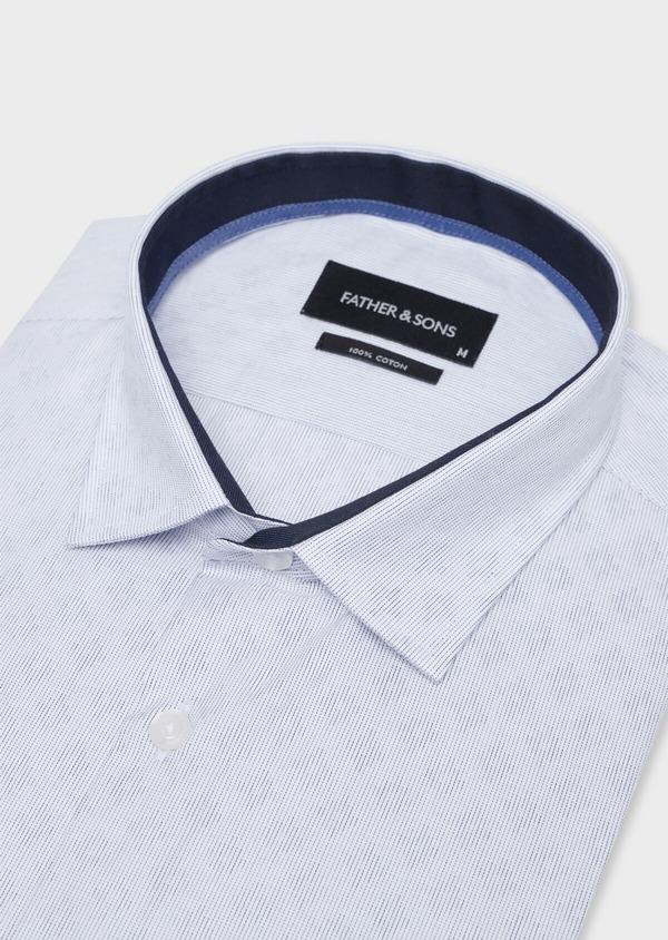 Chemise habillée Slim en twill de coton blanc à motif fantaisie bleu - Father and Sons 34946