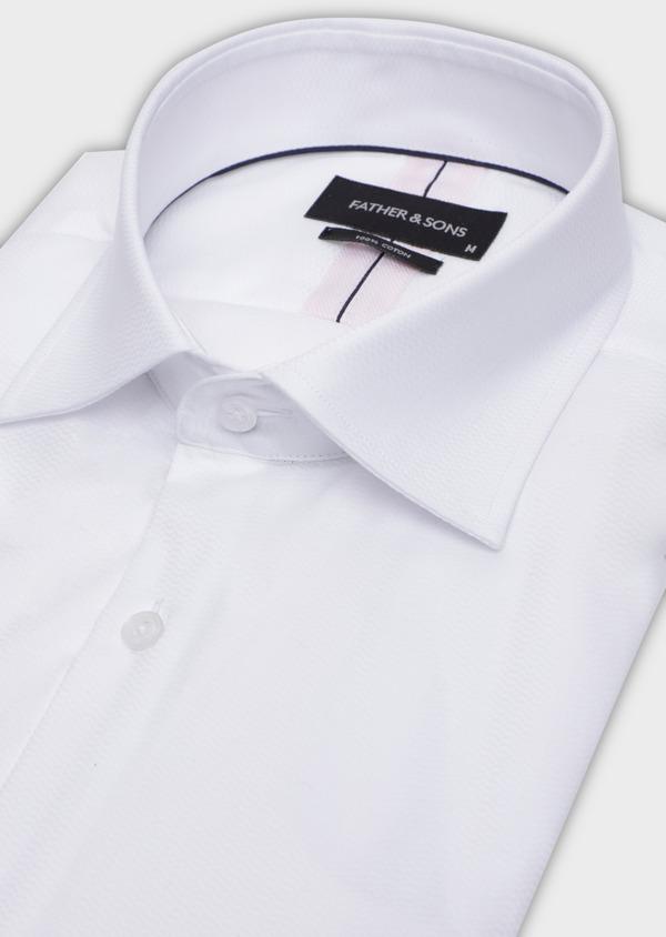Chemise habillée Slim en coton façonné blanc à motif fantaisie - Father and Sons 35613