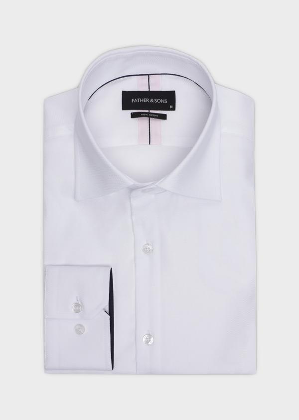 Chemise habillée Slim en coton façonné blanc à motif fantaisie - Father and Sons 35612
