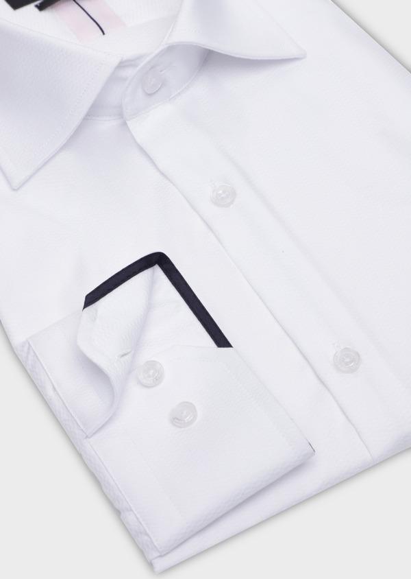 Chemise habillée Slim en coton façonné blanc à motif fantaisie - Father and Sons 35615