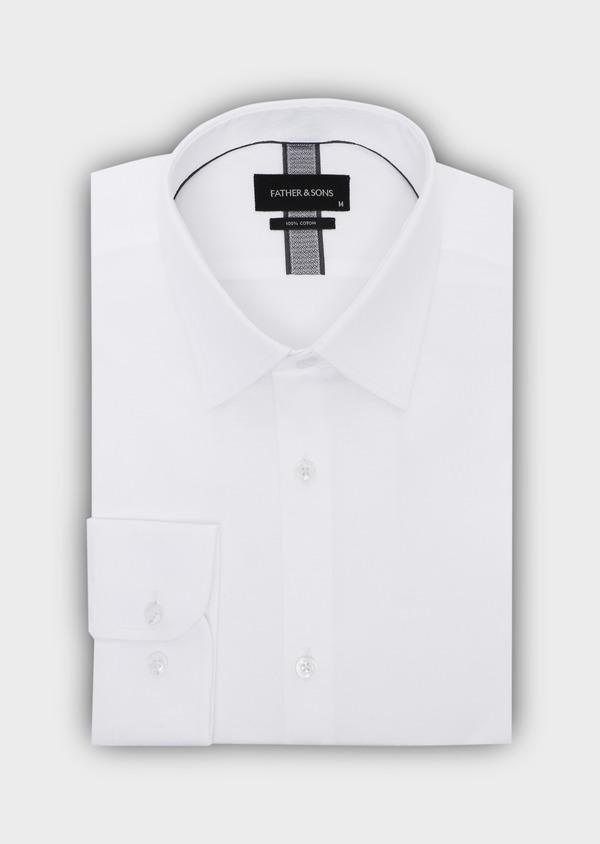 Chemise habillée Slim en coton façonné blanc à motif fantaisie - Father and Sons 35616
